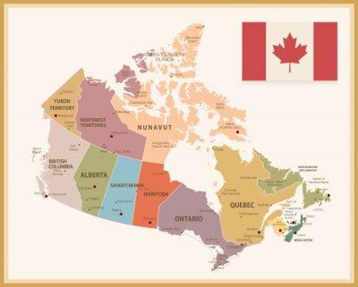 Adesivo Mapa do vintage de Canadá com bandeira