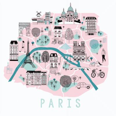 Adesivo Mapa dos desenhos animados de Paris com ícones de locação. Design de impressão