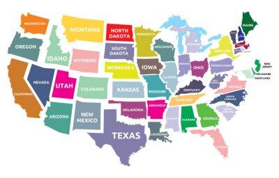 Adesivo Mapa dos EUA com estados