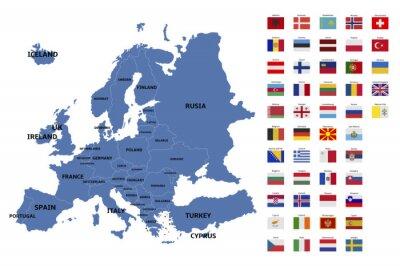 Adesivo Mapa e bandeiras de europa