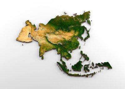 Adesivo Mapa extrudado 3D realista do continente asiático (incluindo subcontinente indiano, leste da Ásia, Rússia e Oriente Médio)
