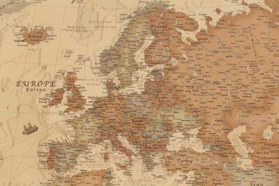 Adesivo Mapa geográfico antigo da Europa com nomes dos países