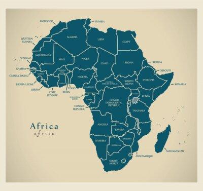 Adesivo Mapa moderno - continente de África com etiquetas do país