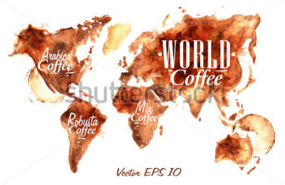 Adesivo Mapa-múndi de desenhados despeje café com a inscrição arábica, robusta, misturar com salpicos e borrões imprime o copo.