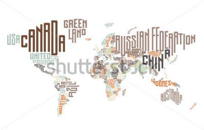 Adesivo Mapa-múndi feito de nomes de países tipográficos. Ilustração vetorial