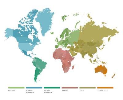Adesivo Mapa mundial com continente em cores diferentes