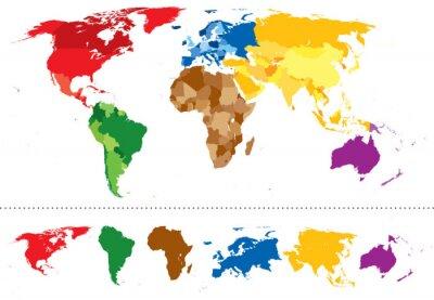 Adesivo Mapa mundo continentes multicoloridas