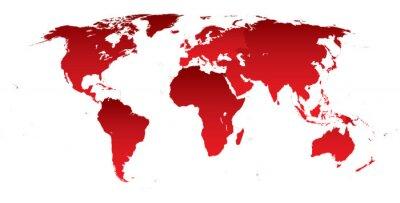 Adesivo Mapa mundo continentes vermelho