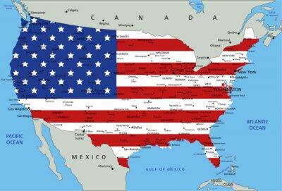 Adesivo Mapa político altamente detalhado dos Estados Unidos da América com bandeira nacional.