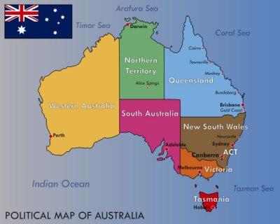 Adesivo Mapa político da Austrália