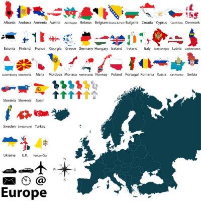Adesivo Mapa político da Europa