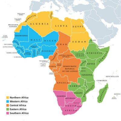 Adesivo Mapa político das regiões de África com países isolados. Geoscheme das Nações Unidas. África do Norte, Ocidental, Central, Oriental e Austral em diferentes cores. Rotulagem em inglês. Ilustração. Veto