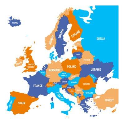 Adesivo Mapa político do continente da Europa em quatro cores com rótulos de nomes de países brancos e isolado no fundo branco. Ilustração do vetor.