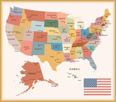 Adesivo Mapa político dos EUA do vintage