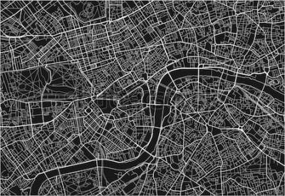 Adesivo Mapa preto e branco da cidade do vetor de Londres com camadas separadas bem organizadas.