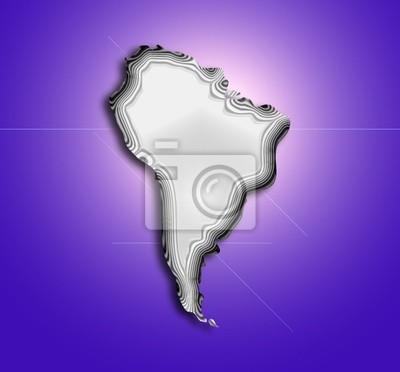 Adesivo mapa topográfico estilizada da américa do sul