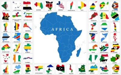 Adesivo Mapas da bandeira dos países da África