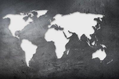 Adesivo Mappa mondiale su lavagna