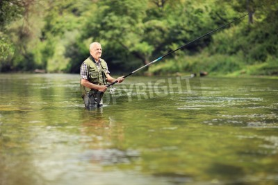 Adesivo Mature fisherman fishing in a river with a fishing rod