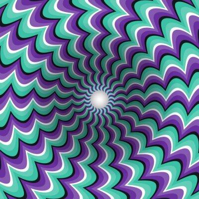 Adesivo Meandering tiras funil. Orifício rotativo. Fundo movente Motley. Ilustração da ilusão ótica.