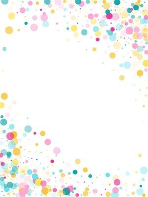 Adesivo Memphis redondo fundo festivo de confete em azul ciano, rosa e amarelo. Vetor padrão infantil.