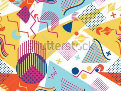 Adesivo Memphis seamless pattern. Geometric elements memphis in the style of 80's. Vector illustration.