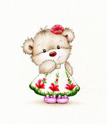 Adesivo Menina bonito do urso de pelúcia