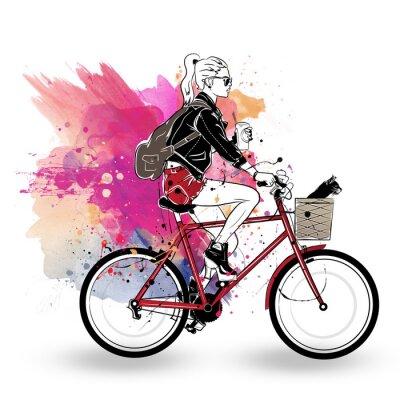 Adesivo Menina da moda no estilo de desenho sobre fundo colorido.