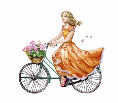 Adesivo menina linda em um vestido de bicicleta