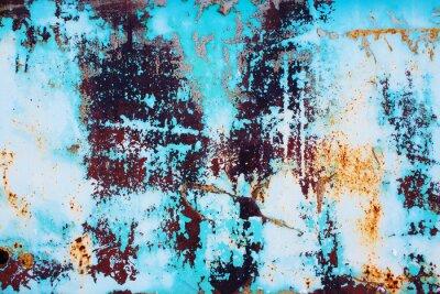 Adesivo Metal oxidado com pintura azul rachada. Colorido, fundo, ferrugem, ferro, superfície, brilhante, azul, pintura, peeling, rachado, textura