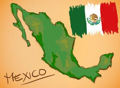 Adesivo México Mapa e Vector Bandeira Nacional