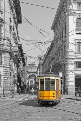 Adesivo Milano con bonde em Praça Cordusio e sfondo Galleria Vittorio Emanuele lombardy italy