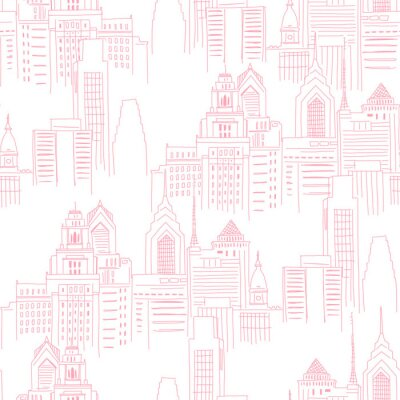 Adesivo Modern New York city scape in pink colour. Girlish Superhero themed neutral seamless pattern. Vector doodle graphics. Perfect for little girl design like t-shirt textile fabric print birtday party