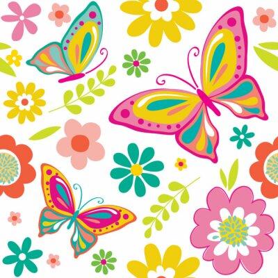 Adesivo Mola com as borboletas bonitos apropriadas para o fundo do envoltório ou do papel de parede do presente. EPS 10 & HI-RES JPG Incluído