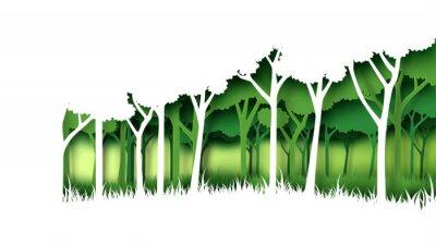 Adesivo Molde verde do fundo da floresta da natureza de Eco. Plantação da floresta com estilo criativo da arte do papel de conceito da ideia da conservação da ecologia e do ambiente Ilustração do vetor.