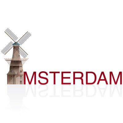 Adesivo MOLEN DE GOOYER, Amsterdão. Vetores de cidades monumentais europeias.