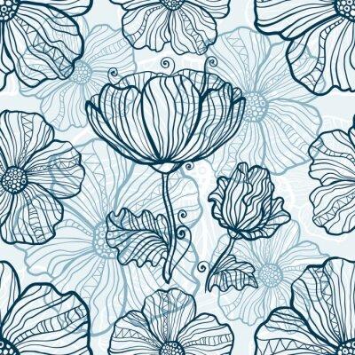 Adesivo Monocromático, papoula, flores, seamless, padrão