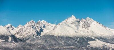 Adesivo Montanha, paisagem, neve, coberto, alto, montanhas, azul, céu