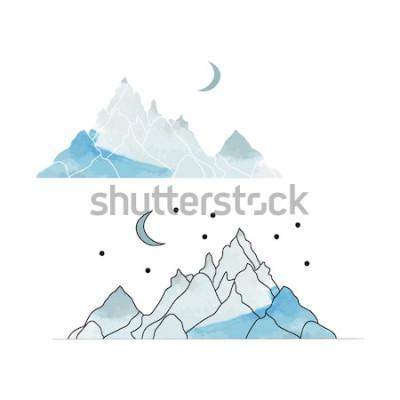 Adesivo Montanhas Azuis. Desenho de uma paisagem no estilo de aquarela. Ilustração vetorial