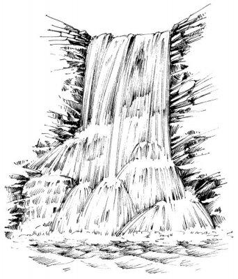 Adesivo Montanhas cachoeira ilustração gráfica