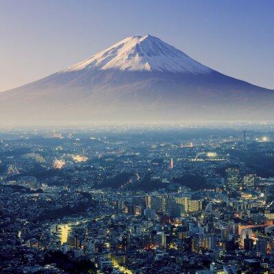 Adesivo Monte Fuji. Fujiyama. Vista aérea com cityspace tiro surreal. J