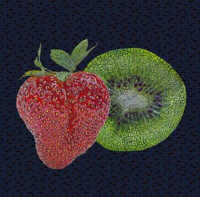 Adesivo Morango e kiwi ilustração