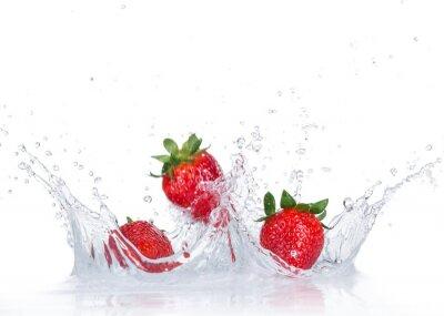 Adesivo Morangos frescas com respingo de água