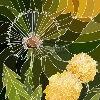 Adesivo Mosaico abstrato do vetor com as grandes pilhas do grupo do dente-de-leão no verde.
