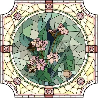 Adesivo Mosaico do vetor com grandes pilhas de flores esquecer-me-not com os botões na janela do quadro rodada de vidro colorido.
