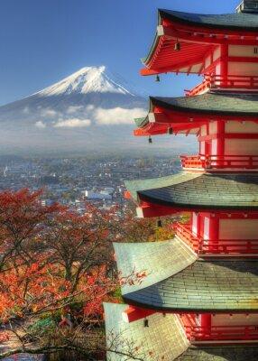 Adesivo Mt. Fuji e folhas de outono em Arakura Sengen Santuário no Japão