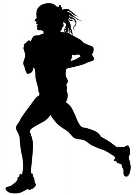 Adesivo Mulher, atletas, correndo, raça, branca, fundo