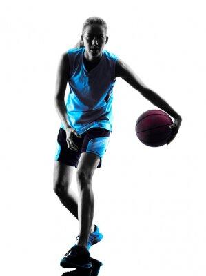 Adesivo Mulher, basquetebol, jogador, silueta