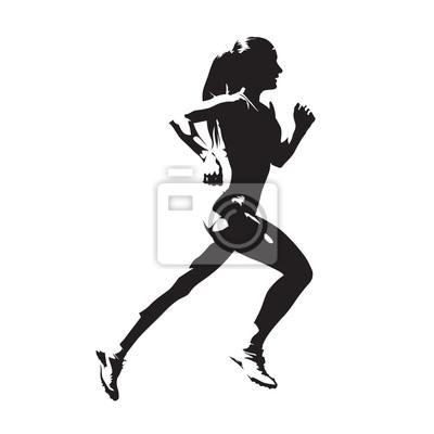 mulher correndo silhueta vetorial abstrata vista lateral laptop