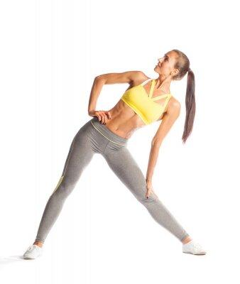 Adesivo Mulher da aptidão que faz o exercício, sorrindo e olhando para cima isolado no fundo branco